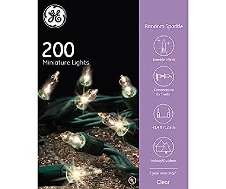 Amazon.com : GE Random Sparkle String Set 200 Lights Clear Christmas ...