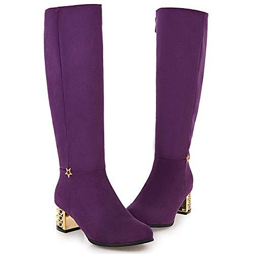 Purple Women Boots Comfort Half Taoffen Heel Block XYwqxzYWdT