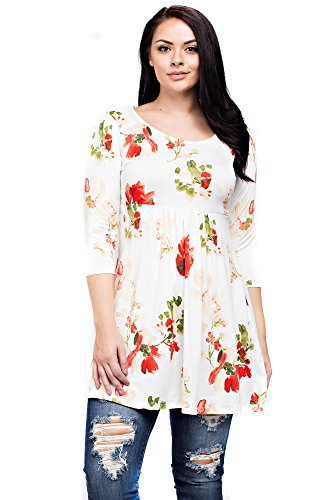 Allora Betsy Red Couture Women's Plus Size 3/4 Sleeve Tunic (BRD900 Ivory Floral, 3X) (Beaded Linen Tunic)