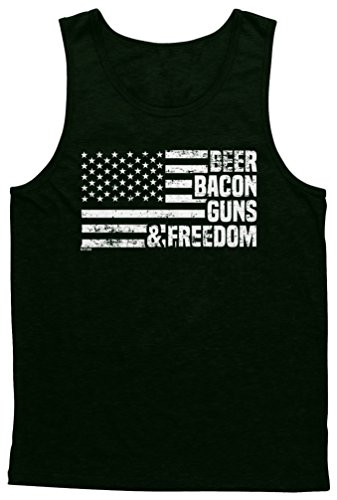 Blittzen Mens Tank Beer Bacon Guns & Freedom, L, Black