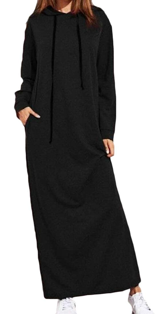 Wan-T Women Long Sleeve Pockets Hooded Drawstring Long Sweatshirt Dress