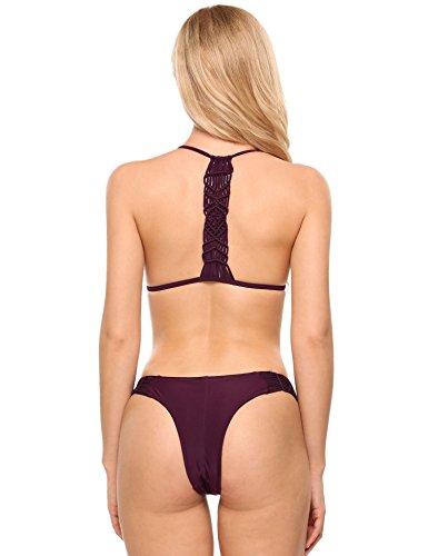 Sexy Zwei Geflochtene Ekouaer Halter Damen Bikini Stück Beach Wear Weinrot Set Einfarbig Bademode