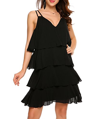 - Zeela Women's V-Neck sleeveless Tiered mini Cocktail Party Strap Dress(Black,Large)
