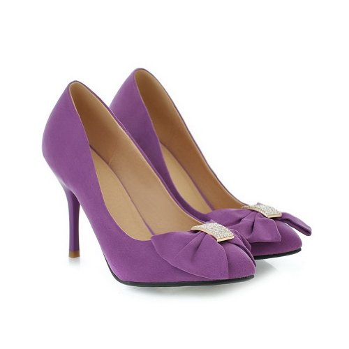 Glass VogueZone009 Womens Purple Closed Soft 3 with 5 Diamond Heel Stiletto High Solid PU Toe and Suede Bowknot Pumps UK Material Pointed rraUdxqw