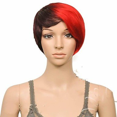 Beauty Fashion Wigs liap Fashion Party Wig Black&Red Short Straight Synthetic Hair Wigs (Harley Quinn Costume Commission)