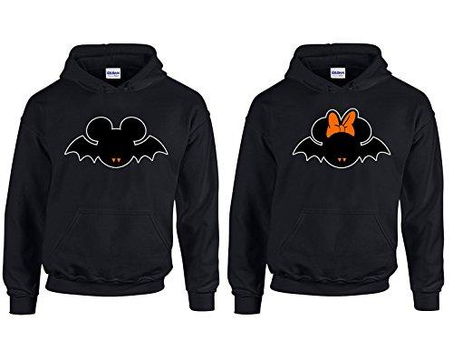 (Disney Mickey Minnie Bats Halloween Costumes Couple Most Popular Hoodie Hooded Sweatshirt)
