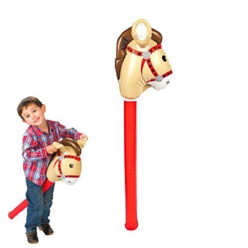 Set of 2 Fun Express Inflatable Stick Horse bundled by Maven Gifts