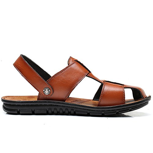 Summer Casual Leather Yellow SLJ Fisherman Sandals Sandal Men's vUw7aqf