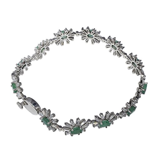 Party Wear Emerald With White Topaz Gemstone 925 Sterling Silver Bracelet