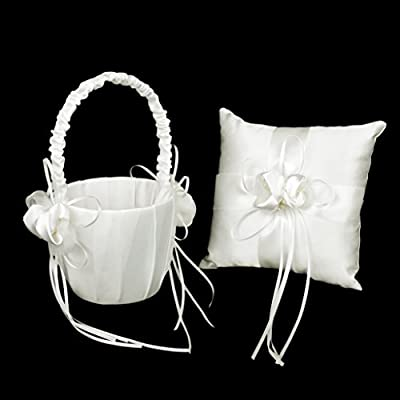 Lovely Bud Wedding Flower Girl Basket Rhinestone Decor Ivory