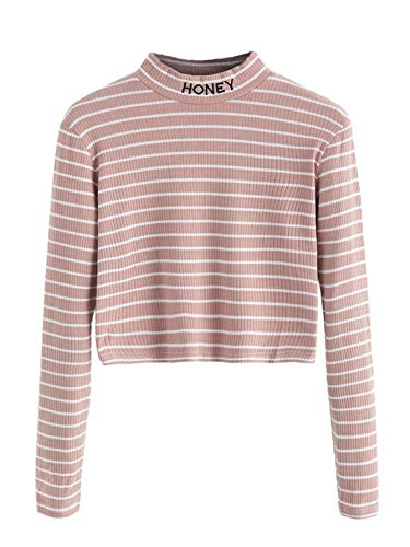 Pink Letter Striped - SweatyRocks Women's Mock Neck Embroidered Letter Long Sleeve Striped Crop Top T Shirt Pink S