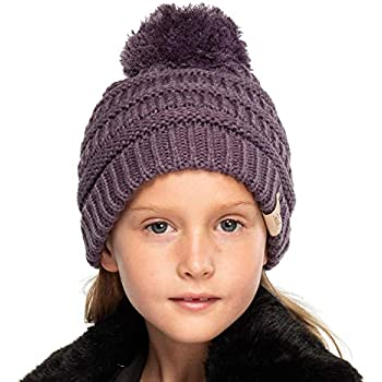e610f739e61 C.C Kids Beanie Ages 2-7 Warm Chunky Thick Stretchy Knit Slouch Beanie  Skull Kids Hat with Pom (YJ-847-POM) (Violet)