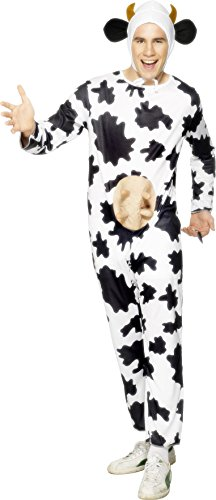 [Smiffy's Cow Jumpsuit, Headpiece and Udders (Adult, One Size)] (Women Cow Costumes)