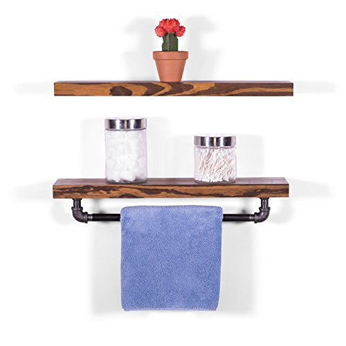 DAKODA LOVE 5.25″ Deep Clean Edge Floating Shelves & Towel Bar, USA Handmade, Clear Coat Finish, 100% Countersunk Hidden Floating Shelf Brackets, Beautiful Grain Pine Wood (Set of 2) (Espresso, 24″) For Sale