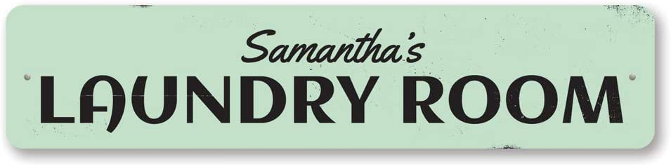 Laundry Room Name Sign, Personalized Laundry Room Decor, Custom Metal Home Decor, Sign - 6 x 24 inches