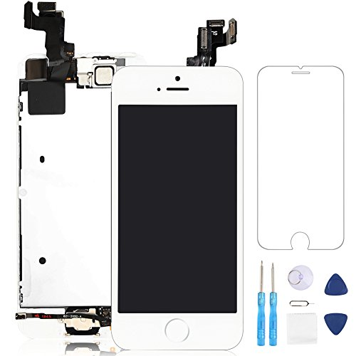Screen Replacement for iphone 5S White LCD Display 3D Touch Digitizer Frame Assembly Full Repair Kit, with Home Button, Proximity Sensor, Ear Speaker, Front Camera, Screen Protector, Repair Tools