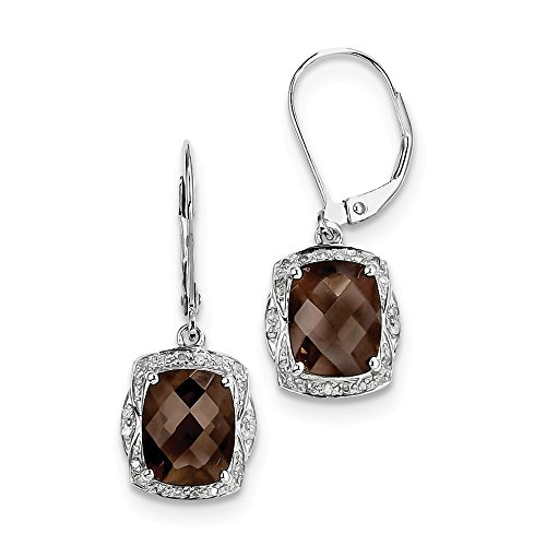 .925 Sterling Silver Genuine Diamond And Smokey Quartz Square Leverback Earrings (0.15 CTTW, I-J Color, I2 Clarity)