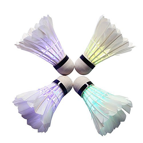 LED Badminton Set Shuttlecock Dark Night Glow Birdies Lighting for Outdoor/Indoor Sports Activities (4PCS)