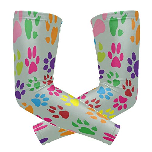 Colorful Dog Cat Paw Arm Sleeves UV Protection Tattoo Elastic Stretch Long Arm Cover Sleeves for Baseball Cycling Running]()