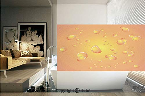 Glossy Film Inkjet - Decorative Privacy Window Film/Glossy Bubbles on Close Up Background Fresh Vibrant Decorative Graphic Home Decorative/No-Glue Self Static Cling for Home Bedroom Bathroom Kitchen Office Decor Orange