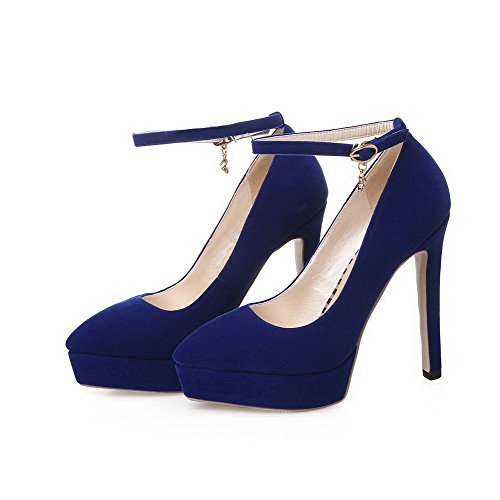 VogueZone009 Women's Solid Imitated Suede High-Heels Pointed Closed Toe Buckle Pumps-Shoes Blue bqxWH