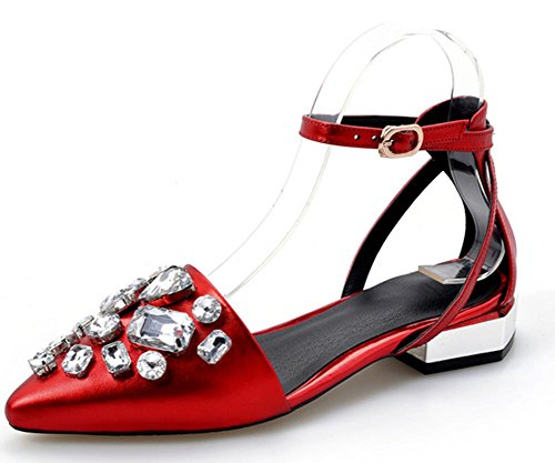 new of the women's leather end Summer sandals at of first heeled tendon low Red layer Udvv17nW