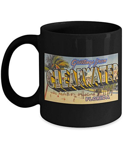 Greetings from Clearwater Florida, Vintage Large Letter Postcard Design: Ceramic Coffee Mug ()