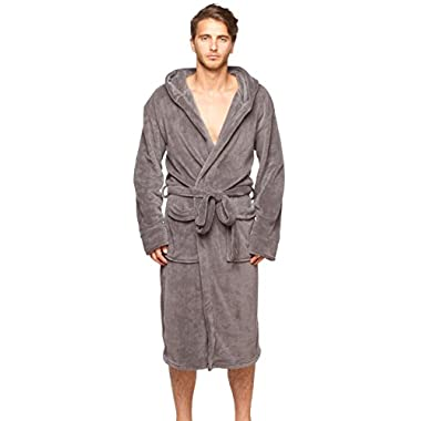 Mens New Charcoal Micro Fleece Hooded Bathrobe by Wanted Large / X- large