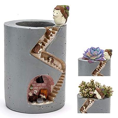 ChasBete Cute Flower Pots Indoor Hedgehog Planters Decorative Resin Garden Small Plant Pots/Brush Pot Reusable: Garden & Outdoor