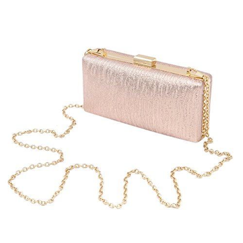 Elegant Small Solid Color PU Leather Shine Hard Clutch Evening Bag, Champagne -