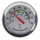 Compost Thermometer Stainless Steel Dial for Home and Backyard Composting - 50 mm Diameter C and F Dial, 295 mm Temperature Probe