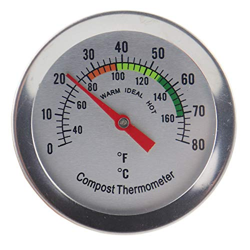 Compost Thermometer Soil - Stainless Steel Dial Thermometer for Home and Backyard Composting - 50mm Diameter C&F Dial, 295mm Temperature Probe