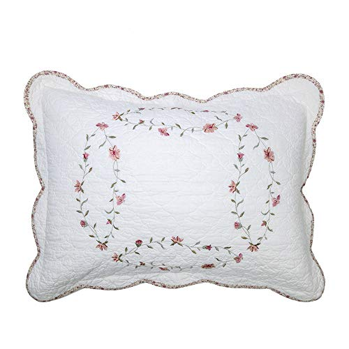 Elegant Life 100% Cotton Floral Pattern Windsor Love Embroidery Pillow Sham Pillowcases Pillow Cover, King Size, 20