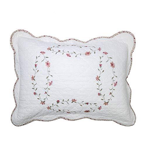 "Sham Floral Cotton Pillow - Elegant Life 100% Cotton Floral Pattern Windsor Love Embroidery Pillow Sham Pillow Cover Pillowcases, Standard Size, 20""x26"""