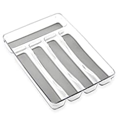 Kitchen BINO 5-Slot Silverware Organizer, Light Grey – Utensil Drawer Organizer with Soft Grip Lining silverware organizers