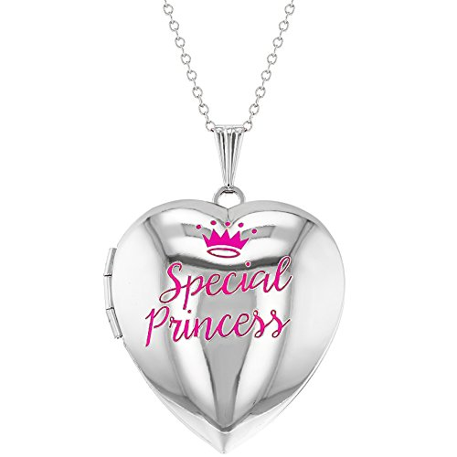 Special Princess Pink Crown Photo Heart Locket Necklace Girls Pendant 16