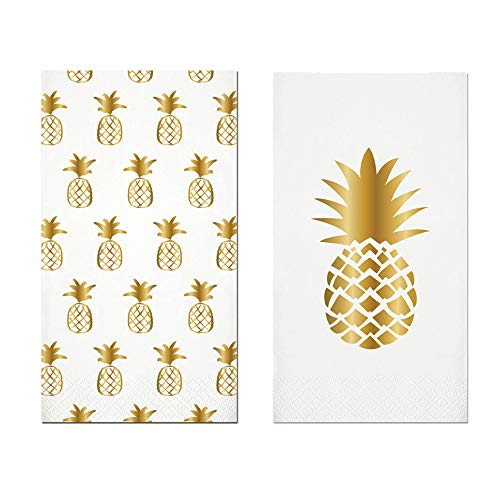 Everyday Bathroom Guest Towels, Disposable Paper Buffet Napkins, Set of 2 Packages of 16 (Gold Pineapple)