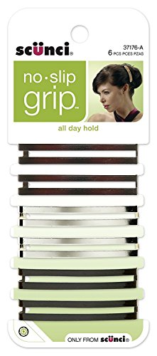 Open Center - Scunci No-Slip Grip Open Center Stay Tight Barrettes, Assorted Colors, 6-Count