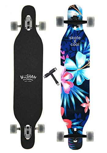 WiiSHAM Professional Speed Downhill Drop Through Complete Longboard Skateboard With Free T-tools -