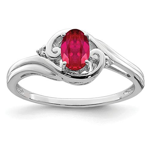 925 Sterling Silver Diamond Red Ruby Band Ring Size 6.00 Gemstone Fine Jewelry For Women Gift Set from ICE CARATS