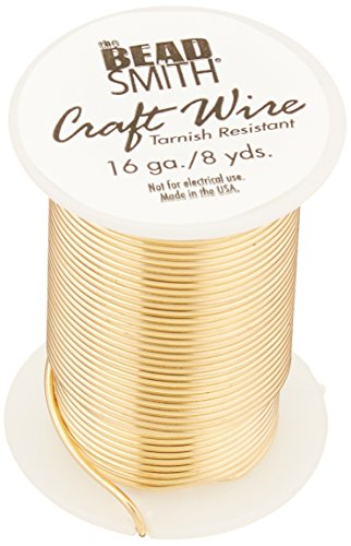 Beadsmith 16 Gauge Tarnish Resistant Copper Wire, 7.3m/8 yd, Gold (Bead Copper Wire)