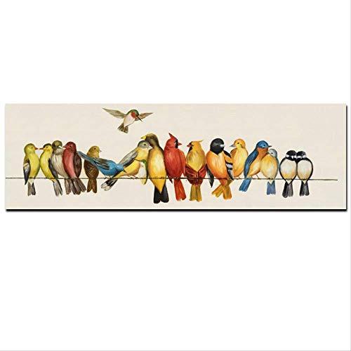 QWEN Imprimir Pajaros Horizontales En Las Lineas De Pintura Al Oleo En Lienzo Pared Arte Imagen Cartel para Dormitorio Sofa Decoracion 30X90Cm