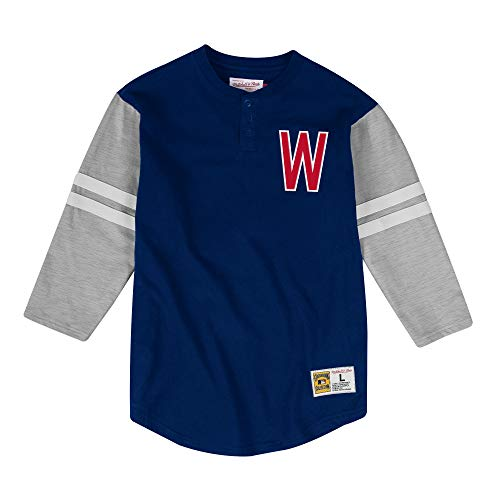 - Mitchell & Ness Washington Senators MLB Men's Team Logo 3/4 Sleeve Henley Shirt