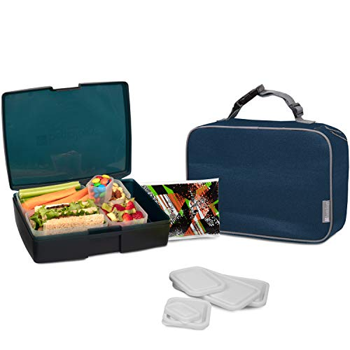 Bentology Lunch Bag and Box Set for Boys - Includes Insulated Sleeve with Handle, Bento Box, 5 Containers and Ice Pack - Blue|Gray