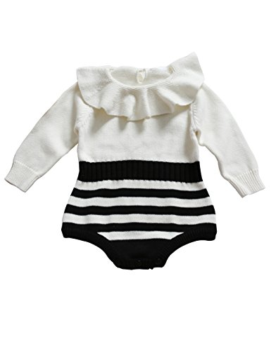 Funnycokid Newborn Baby Girls Princess Ruffle Long Sleeve Knitted Sweater Romper Jumpsuit Winter Clothes