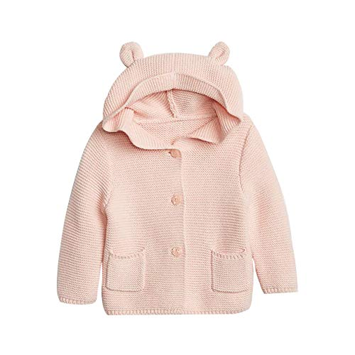 GAP Knitted Cute Bear Hoodie Sweater For Baby With Bear Ears, Size 6-12 M - Milkshake Pink