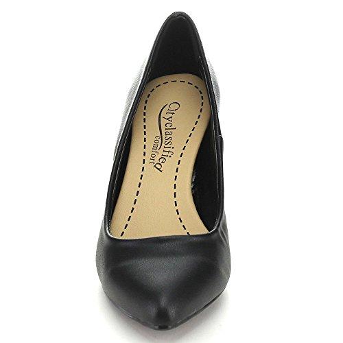 Città Classificata James Womens Punta A Punta Slip On Mid Heel Basic Dress Pump Black Pu