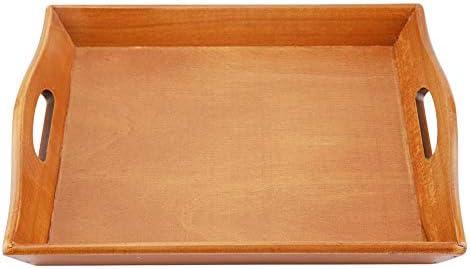 環境に優しいサービングトレイ、ティーセットフルーツキャンディーフードタオル用木製サービングトレイプレート、耐久性のあるサービングトレイ(暗色)