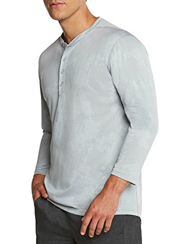Mens Thermal 3/4 Sleeve Henley - Dry Fit Crewneck Workout Shirt w/Buttons ()