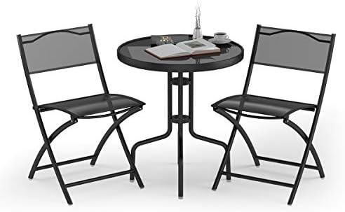 Giantex 3 Pcs Bistro Set Garden Backyard Round Table Folding Chair
